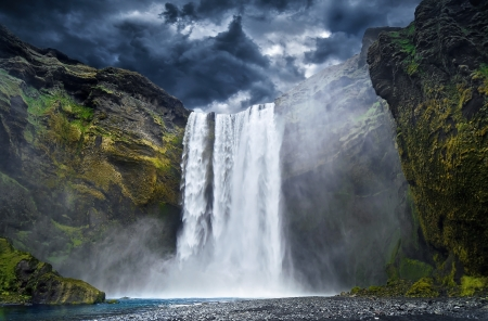 Breathtaking Waterfall in Iceland photo