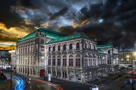 of mozart: Stormy Sky over Vienna at Sunset Editorial
