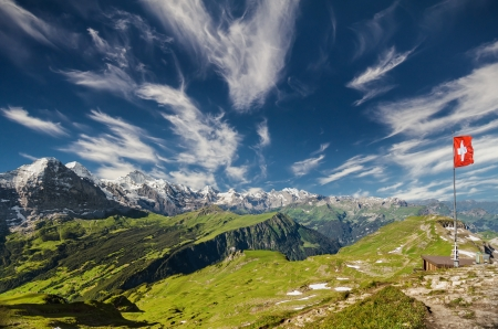 flagpoles: Panoramic View of the Swiss Alps