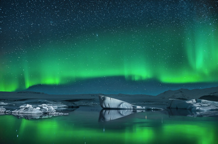 Icebergs under the Northern Lights photo