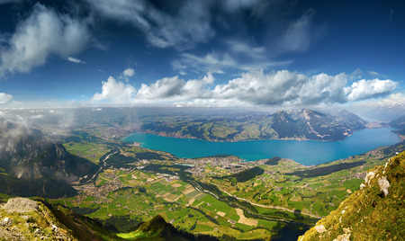 berner: View from Mount Niesen on Lake Thun Stock Photo