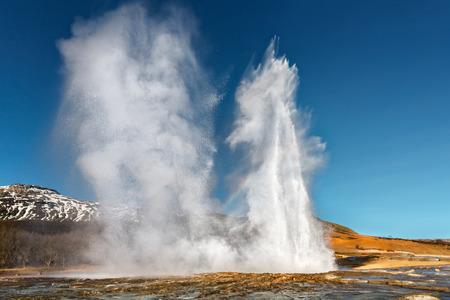 Double Eruption of Strokkur Geyser