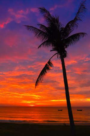 Sunset on Vietnam coast Stock Photo