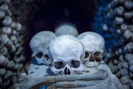 Human skulls and bones in Sedlec Ossuary, Kutna Hora, Czech Republic