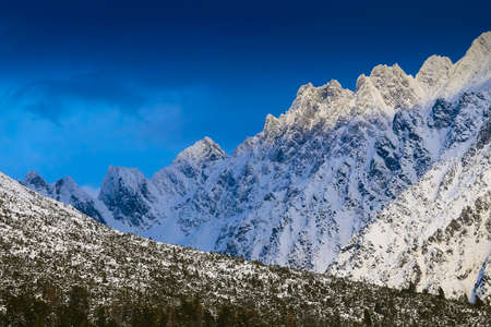 Tatras mountains peaks covered by snow
