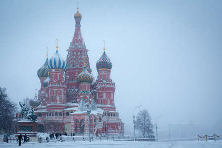 Cathedral of Saint Basil the Blessed on winter and stormy Red Square in Moscow photo