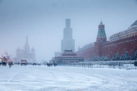 Russian winter at Red Square with Cathedral of Saint Basil the Blessed and Lenin mausoleum