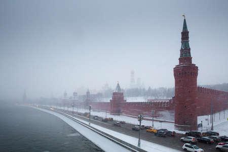 Moscow Kremlin embankment in snowstorm photo