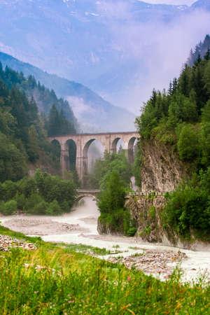 Viaduc du Montenvers in Alp mountains Chamonix France