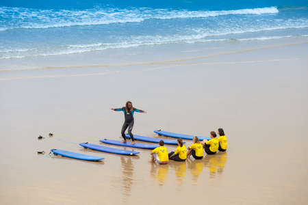 France, Biarritz, July 21, 2015: surf school at the sand beach