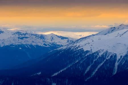 orange sunset: Orange sunset over mountains Stock Photo