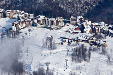 top view to winter Rosa Hutor ski resort in Caucasian mountains Stock Photo