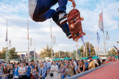 Russia, Moscow, July 23, 2016: fragment of a skateboarder, who makes ollie stunt at Moscow City Games contest, Luzhniki, Moscow, Russia Editorial