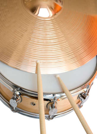 cymbal: snare drum, drumsticks and ride cymbal Stock Photo