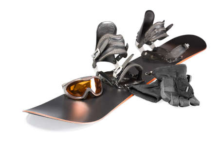 mounts: Set of equipment for snowboarding - board, mounts shoes, glasses, gloves isolated on white background