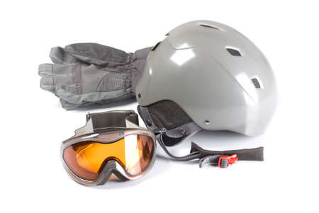 equipment for snowboarding on a white background photo
