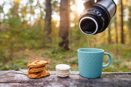 A cookie and a mug are on a log in the forest. Hot tea is poured into a mug. Picnic in the autumn forest. 版權商用圖片