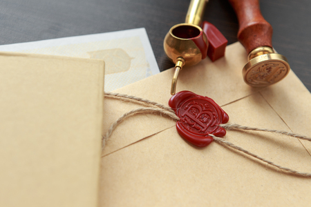 Notary public wax stamp - seal on notarized document