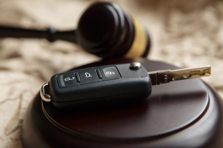 Judges gavel and car key Traffic law Stock Photo
