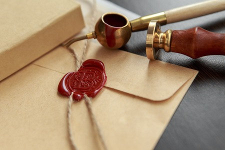 Blank paper with wax seal 스톡 콘텐츠