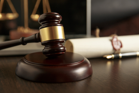 Last will and testament with wooden judge gavel document is Stock Photo