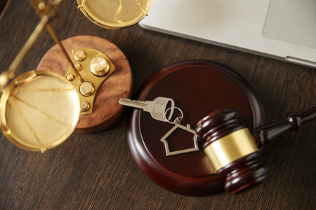 Law and Justice, Legality concept, Law library, Judge Gavel andold vintage key on a black wooden Stockfoto