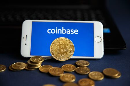 Tula, Russia - August 28, 2018: Coinbase - Buy Bitcoin and More, Secure Wallet mobile app on the display of Editorial