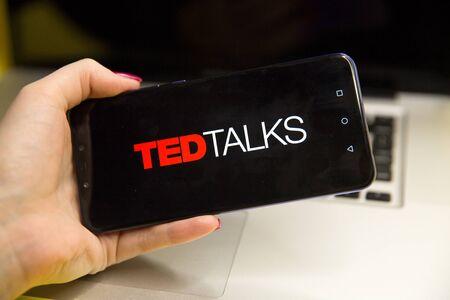 Tula, Russia - JANUARY 29, 2019: TED Talks logo displayed on Editorial