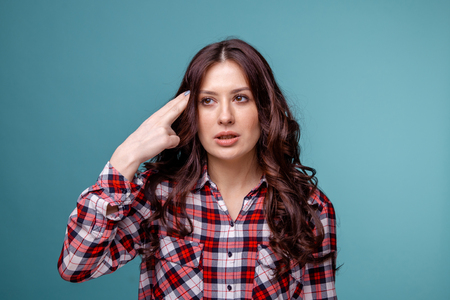 Woman have a headache and feeling sick. Feeling bad. Stock Photo