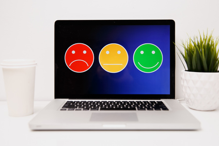 putting on excellent smiley face rating for a satisfaction survey, Customer experience Stock Photo - 119192785