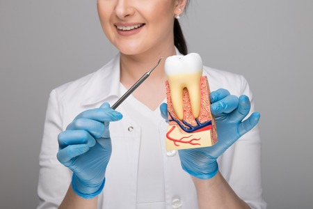 Closeup picture of woman doctor holding a tooth with caries and a tool.