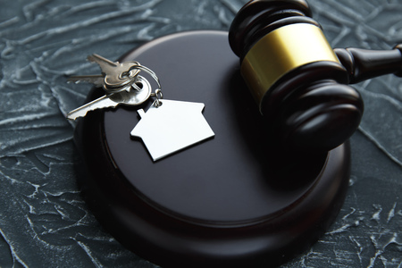 Gavel wooden and house for home buying or selling of bidding or lawyer of home real estate