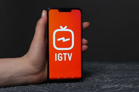 Tula, Russia - March 25, 2019: IGTV on phone display.