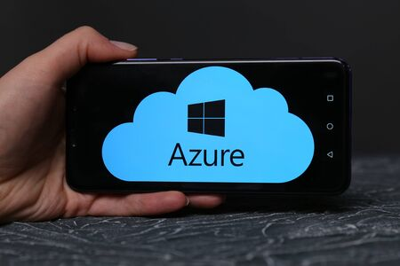 Tula, Russia - May 12 , 2019: Azure on phone display. Editorial