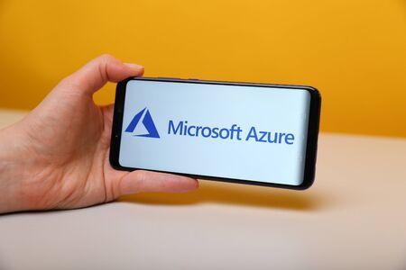 Tula, Russia - May 12 , 2019: Microsoft Azure on phone display.