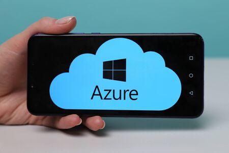 Tula, Russia - May 12 , 2019: Microsoft Azure on phone display. Redakční