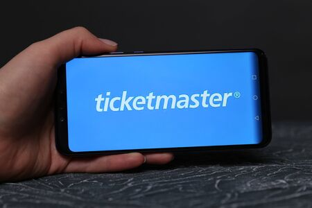 Tula, Russia - May 12 , 2019: Ticketmaster on phone display.