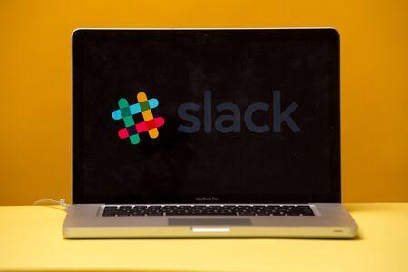 Tula, Russia 17. 06 2019 Slack on the laptop display.