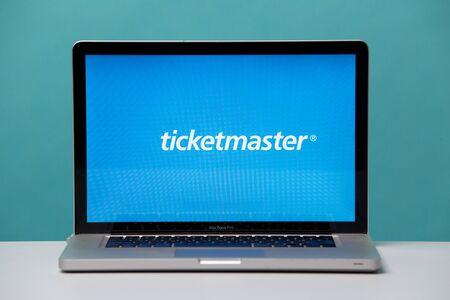 Tula, Russia 17. 06 2019 Ticketmaster on the laptop display. Sajtókép