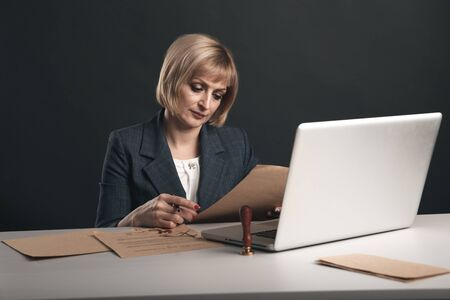 Woman advocate at the workplace. Notary concept. Stockfoto