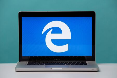 Tula, Russia 17. 06 2019 Internet explorer on the laptop display.