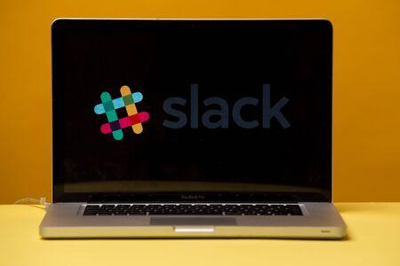 Tula, Russia 17. 06 2019 Slack on the laptop display. Editorial