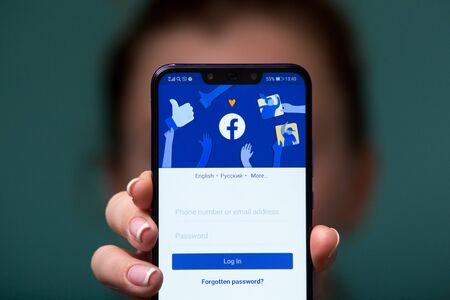 Tula, Russia 17. 06 2019 Facebook on the phone display. Editorial