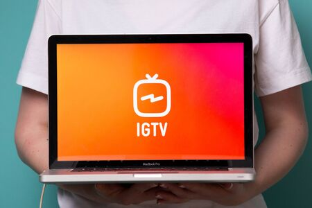 Tula, Russia 17. 06 2019 IGTV on the laptop display. Stock Photo - 128211332