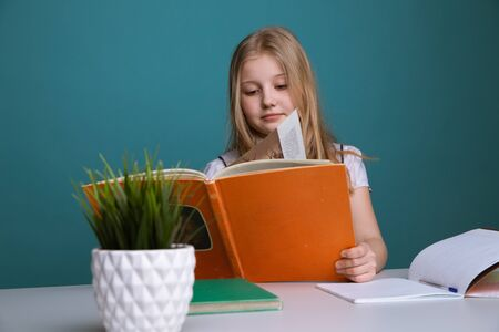 education and school concept - smiling little student girl with many books at school. 写真素材