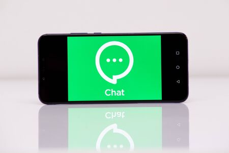 Tula 2.08.2019 Synology Chat on the phone display. Editorial
