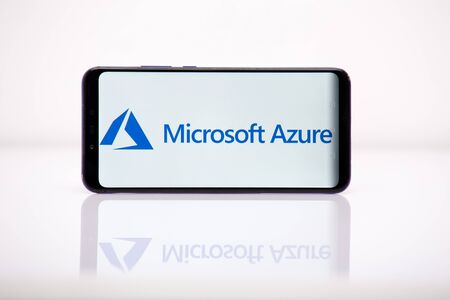 Tula 2.08.2019 Microsoft Azure on the phone display. Editorial