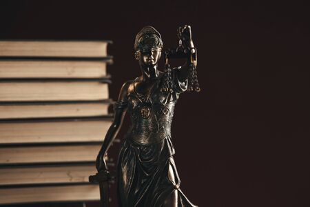 Lawer and notery concept. Statue of justice closeup view.