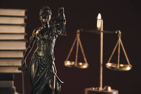 Lawer and notary concept. Statue of justice closeup view.