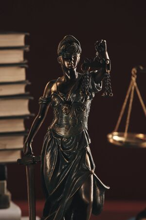 Lawer and notary concept. Statue of justice closeup view Zdjęcie Seryjne